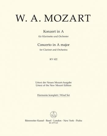 Concerto for Clarinet (Basset Clarinet) in A (K.622) (Urtext). : Wind set: (Barenreiter)