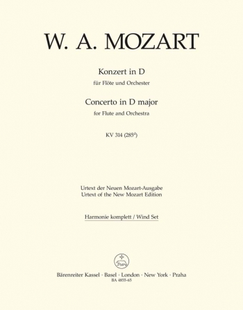 Concerto for Flute No.2 in D (K.314) (K.285d) (Urtext). : Wind set: (Barenreiter)