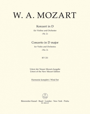 Concerto for Violin No.2 in D (K.211) (Urtext). : Wind set: (Barenreiter)