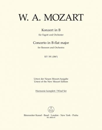 Concerto for Bassoon in B-flat (K.191) (K.186e) (Urtext). : Wind set: (Barenreiter)