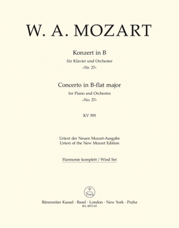 Concerto for Piano No.27 in B-flat (K.595) (Urtext). : Wind set: (Barenreiter)