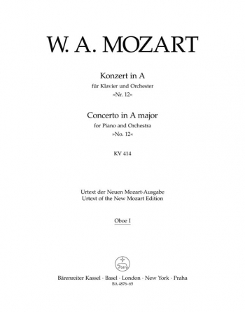 Concerto for Piano No.12 in A  (K.414) (Urtext). : Wind set: (Barenreiter)