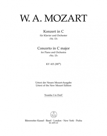 Concerto for Piano No.13 in C (K.415) (Urtext). : Wind set: (Barenreiter)