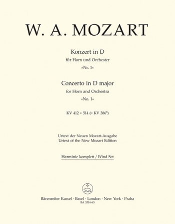 Concerto for Horn No.1 in D (K.412 + 514 (K.386b)) (Urtext). : Wind set: (Barenreiter)