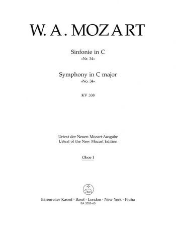 Symphony No.34 in C (K.338) (Urtext). : Wind set: (Barenreiter)