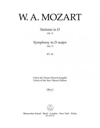Symphony No. 7 in D (K.45) (Urtext). : Wind set: (Barenreiter)