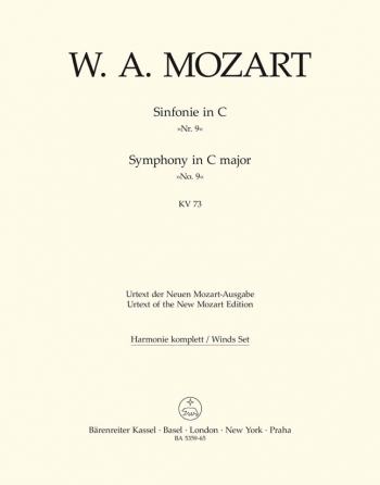 Symphony No. 9 in C (K.73) (Urtext). : Wind set: (Barenreiter)
