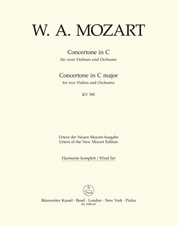 Concertone in C (K.190) (Urtext). : Wind set: (Barenreiter)
