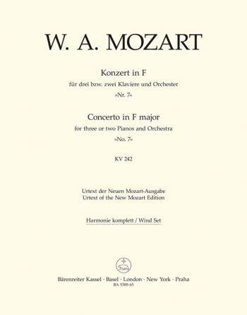 Concerto for Piano No. 7 in F (for 2 or 3 Pianos) (K.242) (Urtext). : Wind set: (Barenreiter)