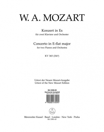 Concerto for Piano No.10 in E-flat (Two Pianos & Orchestra) (K.365) (Urtext): Wind set: (Barenreiter