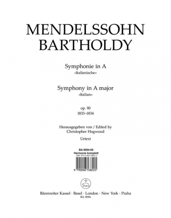 Symphony No.4 in A, Op.90 (Italian) (Urtext). : Wind set: (Barenreiter)