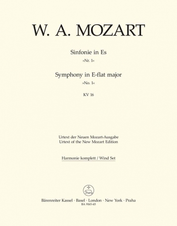 Symphony No. 1 in E-flat (K.16) (Urtext). : Wind set: (Barenreiter)