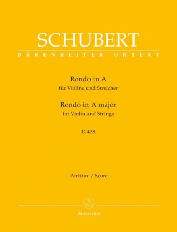 Rondo in A (D.438) for Violin and Strings (Urtext). : Large Score Paperback: (Barenreiter)