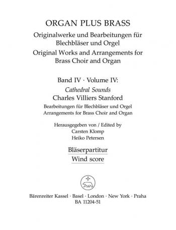 Arrangements for Brass Choir & Organ (Series: Organ Plus Brass Vol.4).: Instrumental part: (Barenrei