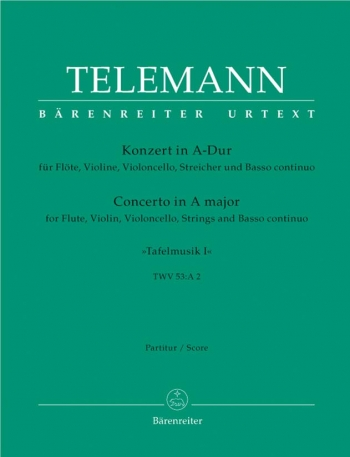 Concerto for Flute and Violin in A (Tafelmusik No.1 1733)  (TWV 53: A2) (Urtext).: Large Score Paper