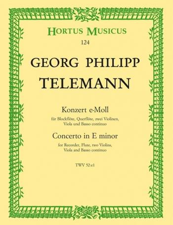 Concerto for Recorder and Flute in E minor. : Large Score Paperback: (Barenreiter)