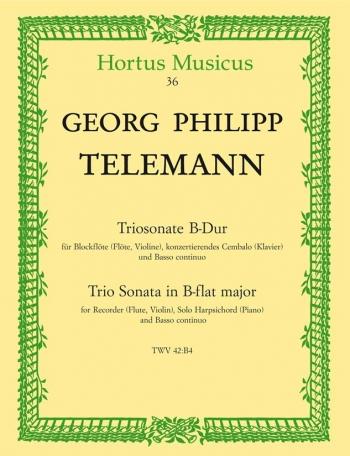 Trio Sonata in B-flat (TWV 42: B4). : Treble Recorder & Piano: (Barenreiter)