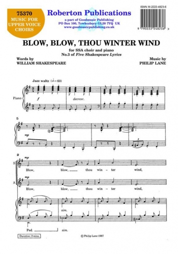 Blow Blow Thou Winter Wind: Vocal SSA (Roberton)