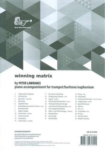Winning Matrix For Trumpet/ Baritone/Euph: Piano Accompaniment (Lawrance)