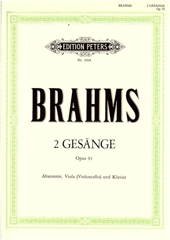 Zwei Gesange: Two Songs: Op91: Vocal With Viola Or Cello And Piano