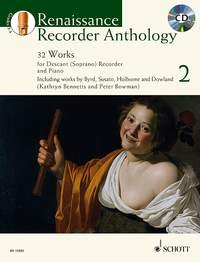 Renaissance Recorder Anthology Vol.2 32 Works For Descant Recorder & Piano Book & CD