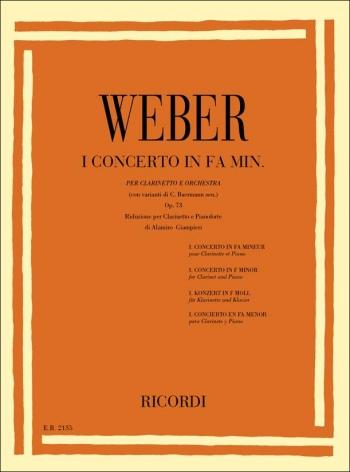 Clarinet Concerto F Minor No 1 Op73: Clarinet & Piano (Ricordi)