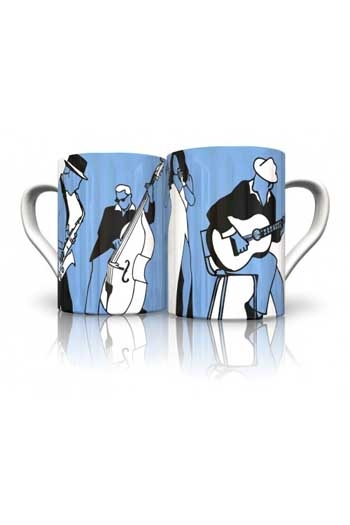 Mug:  Blues Mug Designed By Award-winner Vikki Gibson. Hand-decorated In England.