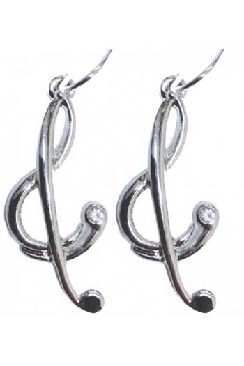 Silver-plated Treble Clef Earrings