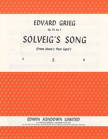 Solveigs Song G Major Vocal Solo Medum Voice (Ashdown)