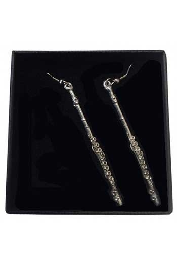 Gift: Earrings: Flute: Pewter