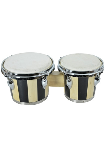 "Bongos: Black 6.5"" And 7.5"" In Diameter: Tunable Hide Heads And A Traditional Rim"