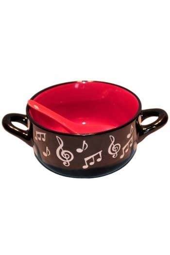 Music Note Bowl With Spoon - Red
