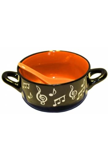 Music Note Bowl With Spoon - Orange