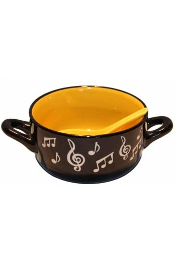 Music Note Bowl With Spoon - Yellow