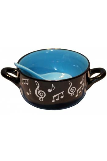 Music Note Bowl With Spoon - Blue