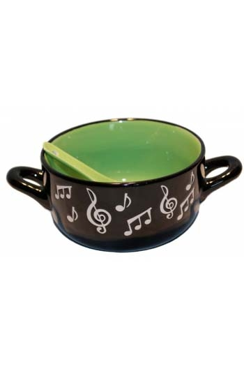 Music Note Bowl With Spoon - Green