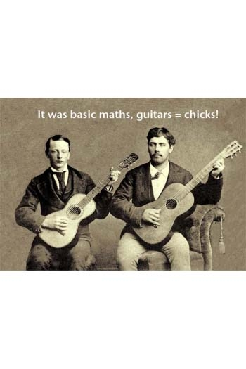 Greeting Card:  It Was Basic Maths: Guitar = Chicks