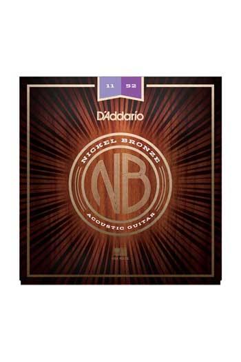 D'Addario Acoustic Guitar NB1152 Nickel Bronze Strings, Custom Light 11-52