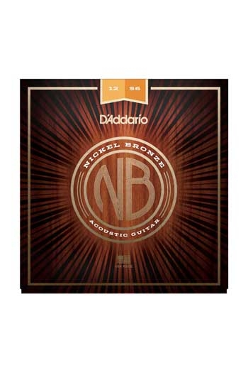D'Addario Acoustic Guitar NB1256 Nickel Bronze Strings Light Top / Med Bottom, 12-53