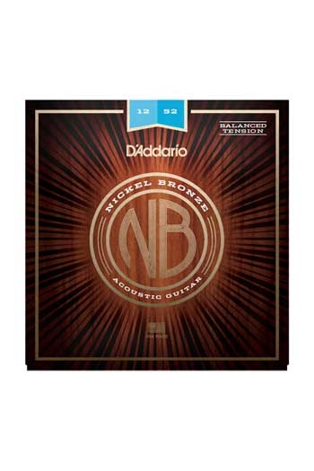 D'Addario Acoustic Guitar NB1252BT Nickel Bronze Strings Balanced Tension Light 12-52
