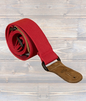 Leathergraft Guitar Strap - Red Canvas & Suede Ends