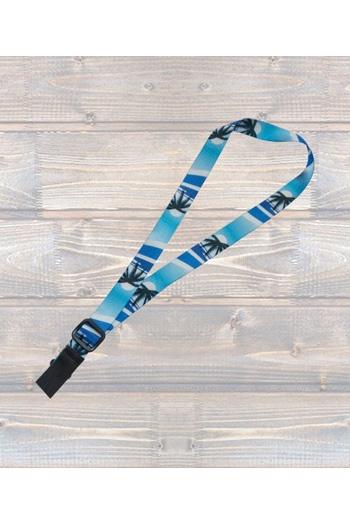 """Ukulele Strap Nylon Webbing 1"""" Hawaiian Blue - Sling"""