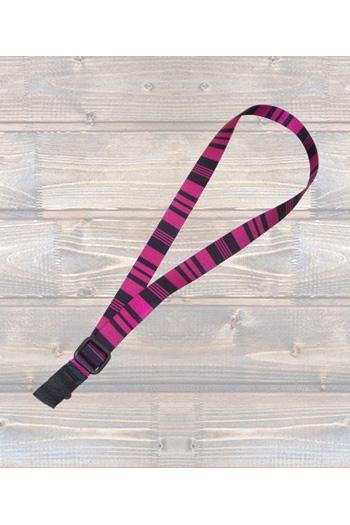 "Ukulele Strap Nylon Webbing 1"" Pink & Black Stripe - Sling"