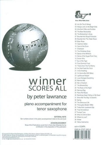 Winner Scores All: Tenor Saxophone Piano Accompaniment