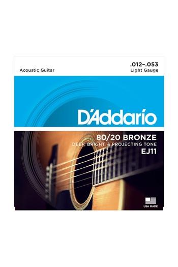 D'Addario Acoustic Guitar EJ11 80/20 Bronze Guitar Strings: Light 12-53