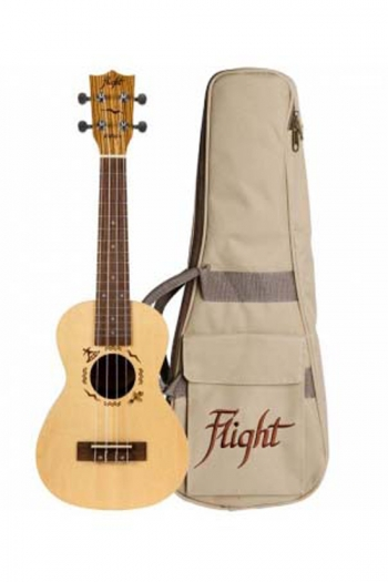 Flight: DUC525 Concert Solid Top Ukulele - Zebrano B&S (With Bag