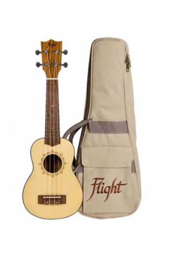 Flight: DUS320 Soprano Ukulele - Zebrano B&S (With Bag)