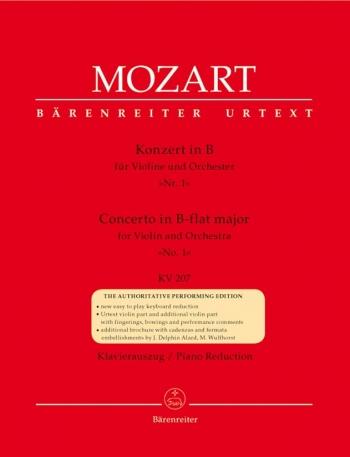 Violin Concerto No.1 Bb Major Kv207: Violin & Piano (Barenreiter)