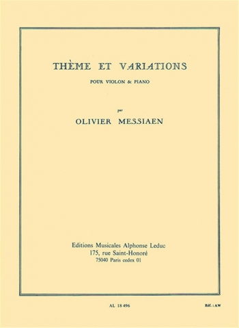 Theme Et Variations: Violin & Piano (Leduc)