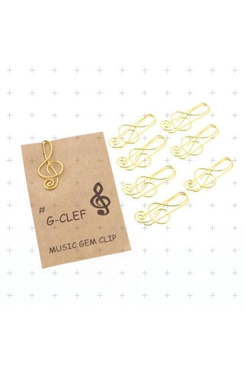 Paper Clips Treble Clef - Gold (Pack 8)